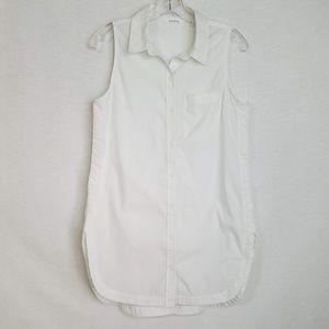 Athleta Long Lean Tunic Button Down Bright White S